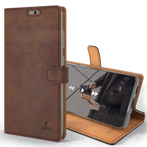 Snakehive S20 Plus Schutzhülle/Klapphülle echt Lederhülle mit Standfunktion, Handmade in Europa für Samsung Galaxy S20+ (Braun)