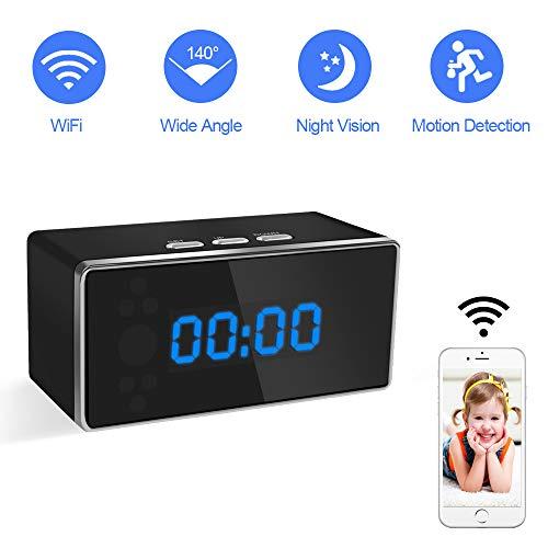 Camara Espia Oculta WiFi Reloj Despertador 1080P TANGMI Mini Seguridad Cámara Inalámbrica Videocámara Detección de Movimiento con Visión Nocturna 140°