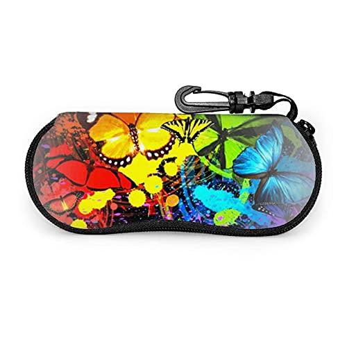 Caja De Gafas Imprimir Belleza Animal Mariposa Bolsa De Llaves Con Cremallera Sunglasses Case Fácil De Cargar Funda De Gafas Para Lápices, Llave, Tarjetas, Joyas