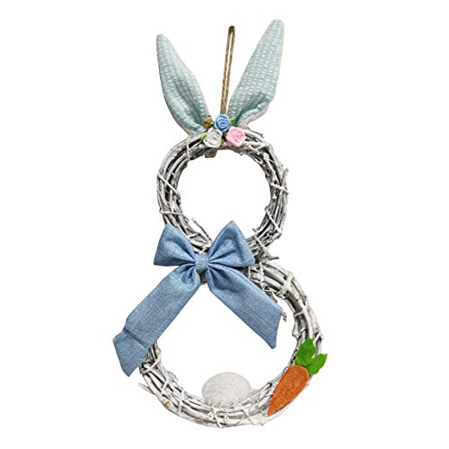 Bunny Shape Wreath Lights Easter Garland Decorations Rattan Circle Ornaments Home Decoration Pendant Window Props Gifts Holiday Home Garden Wedding Ornament Door Wall Hanging Decor