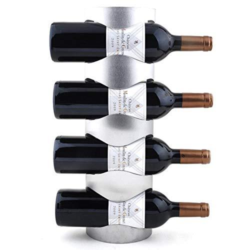 Botellero de acero inoxidable montado en la pared para botellas de vino de hierro decorativo montado en la pared Botellero para 4 botellas.