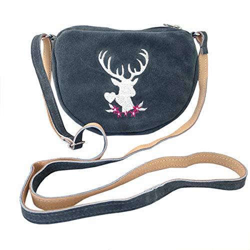 Kleine Trachtentasche Dirndltasche Umhängetasche mit Trachten-Stickerei Wild-Leder grau