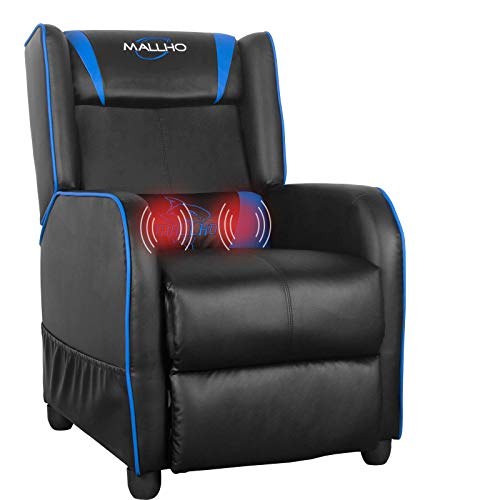 Polar Aurora Gaming Recliner Chair PU Leather Massage Recliner Vibratory Massage Function Ergonomic Lounge for Living & Gaming Room (Blue)