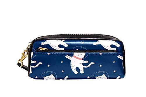 Federmäppchen, großes Fassungsvermögen, großes Federmäppchen, Make-up-Tasche für Teenager, Schule, weißer Bär und Sternbild Ursa Major Muster Einheitsgröße Farbe2