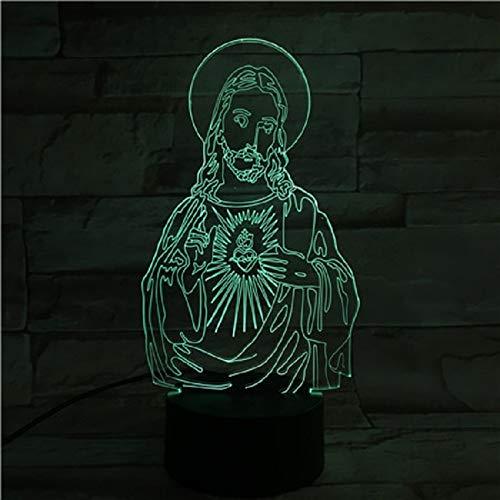 Luces De Noche Led De Acrílico 3D Lámpara Táctil De Jesús Regalos Creativos Base De Lava Negra Blanca Lámpara De Escritorio Lámpara De Escritorio Dormitorio