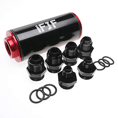 iFJF Inline Fuel Filter Replacement for Universal Mount Between Fuel Tank and Pump 50mm Diameter 100 Micron Cleanable Stainless Steel Mesh Screen High Flow AN6 AN8 AN10 Adapter Anodized Black and Red