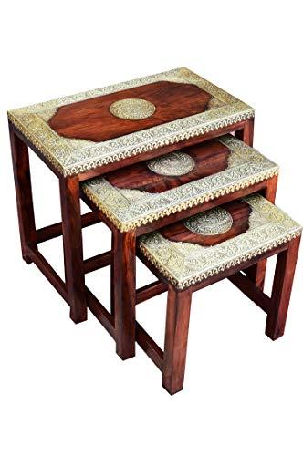 Marokkaanse bijzettafel, salontafel van massief hout kajol | vintage tafel van massief hout met messing versierd voor uw woonkamer | lage Oosterse salontafel massief houten tafel bruin
