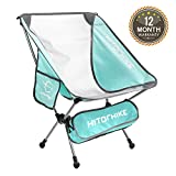 Hitorhike Camping Chair Breathable Mesh Construction 2 Side Pockets Aluminum Frame Camp Chair with Carry Bag Compact and Lightweight Folding Chair for Backpacking and Camping (MARRS Green 1pcs)