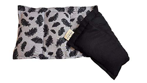 Körnerkissen Natur Kühlkissen Wärmekissen Motiv Federn schwarz grau schwarz Wendekissen Dinkelkissen 100% Baumwolle Westfalenstoffe Unsere exquisiten Premium Kissen 50x20cm