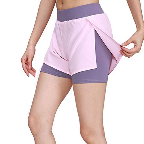 emansmoer Femme Sports Breathable Gym Yoga Short Pants Lady Cycling Running Fitness Training Jogging Athletic Shorts(M, Pink)