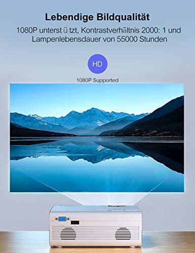 Mini Video Beamer Crosstour Full HD Unterstützt Heimkino Projector LED Handy Tragbar Projektor Kompatibel mit Chromecast/iPhone/Android/TV Box/Tablette - 3
