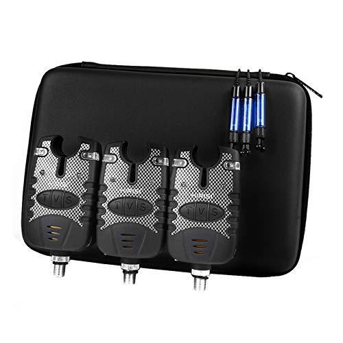 Elikliv 3-teiliges Angel-Bissanzeiger-Set für Karpfen, kabellos, digitaler Bissanzeiger, Swinger, Angel-Empfänger-Set, blaue LED