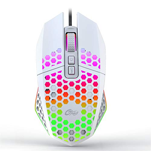 X801 Wired Gaming Mouse, Honeycomb Lightweight Design Gaming Mouse with RGB Backlit, 7 Programmable Buttons and One-Click Desktop, 8000 DPI Optical USB Gamer Mouse for Mac, Laptop, Computer - White