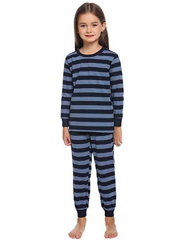 Hawiton Kinder Schlafanzug Lang Streifen Pyjama Set Baumwolle Mädchen Langarm Pyjama Sweatanzüge für Unisex Kinder Kleidung Langarm