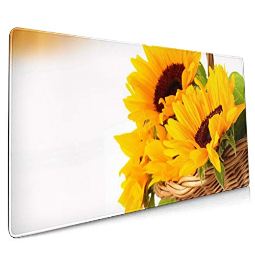 Zonnebloemen Oranje Rieten Mand Bloemen Stilleven Muis Pad Niet Slip Rubber Grote Gaming Keyboard Mat 15.8x35.5 In