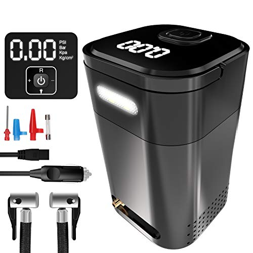 150PSI Tire Inflator Portable Small Air Compressor Bike Tire Pump Electric, Digital Air Pump for Car Tires, with Pressure Gauge, LED Light, 12V DC, Auto Shut Off for Car Bicycle Motorcycle and Balls