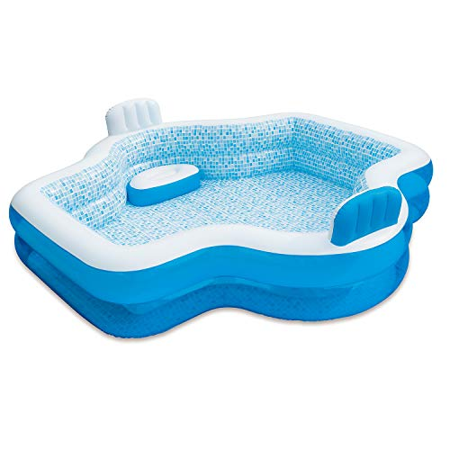 Summer Waves Inflatable Elegant Family Pool with 2 Built In Cushioned Seats, Drain Plug, and 2 In 1 Inflation and Deflation Valve