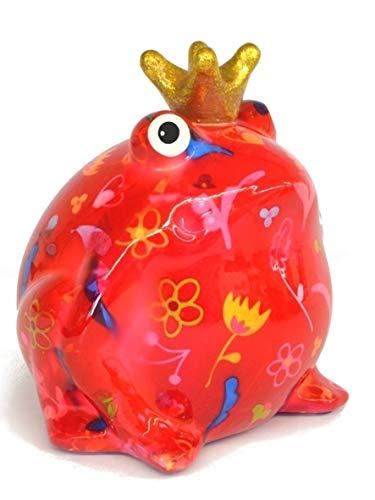 Pomme Pidou Spardose Frosch Froschkönig Basic rot mit Blumen 15x17 cm Sparbüchse Geldgeschenk