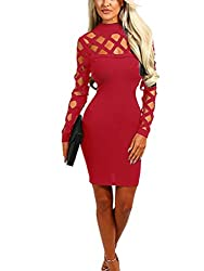 Wuxh Women's Sexy Long Sleeve Hollow Out Cocktail Clubwear Party Mini Bandage Bodycon Dress