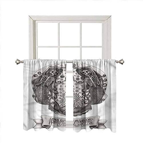 Zodiac Pisces Blackout Curtain Window Valances,Skeleton Mermaid Girl Short Straight Drape Valance for Living Room Kitchen Bedroom,Rod Pocket,Matching Curtain Panels,42 x 36 Inch,2 Panels