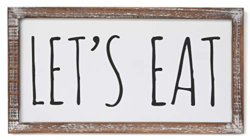 SANY DAYO HOME Let's Eat Signs 16 x 8 inches Rustic Real Wood Frame Wall Art Farmhouse Decor for Kitchen, Dining Room, Breakfast Nook