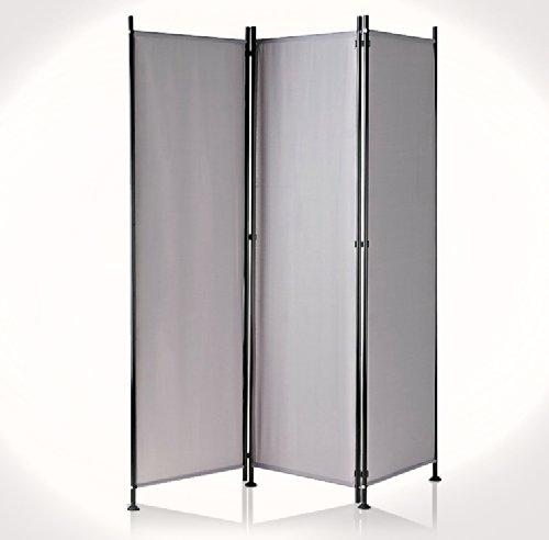 IMC Paravent 3-teilig dunkelgrau Raumteiler Trennwand Sichtschutz, faltbar/flexibel verstellbar, wetterfester Polyester-Stoff, Schwarze Metallstangen