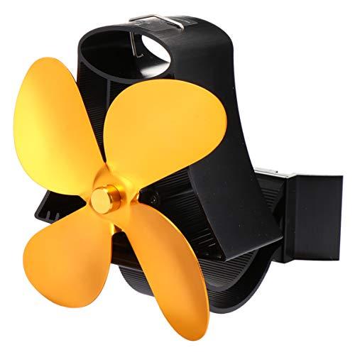 WINOMO Holzofen Ventilator Auto Zirkulierende Rohr Kamin Ventilator Holz Holzofen Kaminsims Fan mit 4 Flügeln für Home Office Shop Dekor Golden