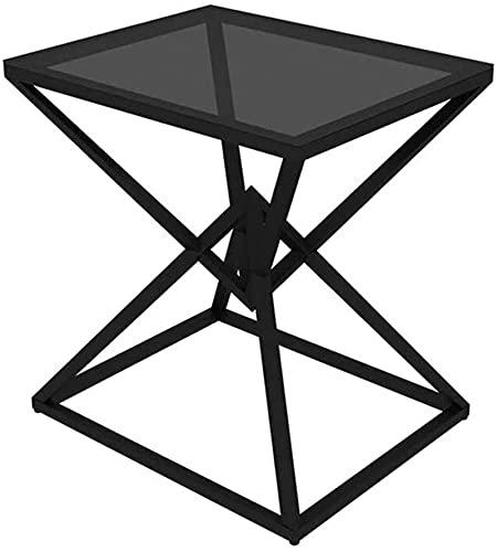 Mesa de centro de cristal nórdico pequeña simple moderna sala de estar hierro sofá lado creativo mesa de noche mini mesa