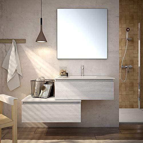 Aquareforma | Mueble de Baño sin Lavabo y sin Espejo | Mueble Baño Modelo Serby 2 Cajones Suspendido | Muebles de Baño | Diferentes Acabados Color (Hibernian, 80 cm)
