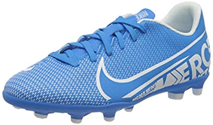 Nike Jr. Mercurial Vapor 13 Club MG, Botas de fútbol Unisex niño, Multicolor (Blue Hero/White/Obsidian 414), 37.5 EU