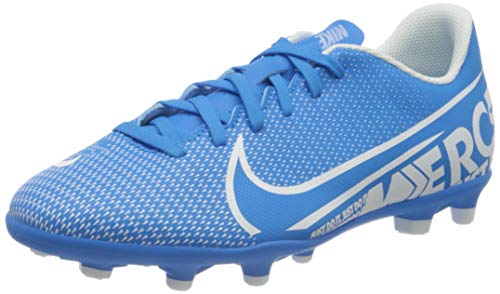 Nike Jr. Mercurial Vapor 13 Club MG, Botas de fútbol Unisex niño, Multicolor (Blue Hero/White/Obsidian 414), 38.5 EU