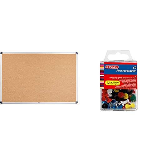 AmazonBasics - Notizbrett aus Kork, Aluminumrahmen, 90 x 60 cm & Herlitz 8770406 Pinnwandnadel 23 mm, 60er Box