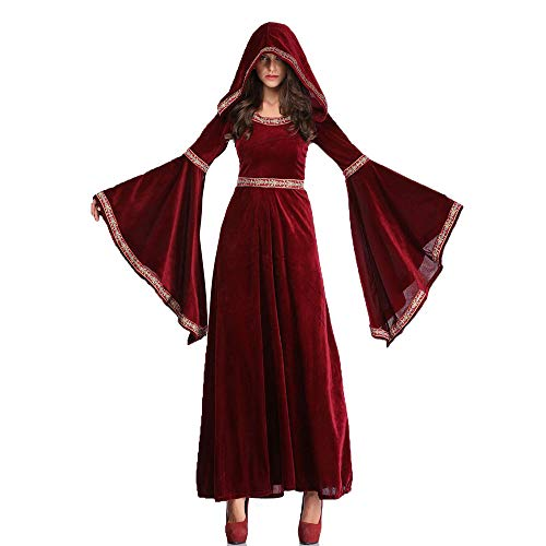 Womens Halloween Cosplay Dress,Middeleeuwse Retro Aristocratische Hof Wijn Rode Bell Sleeve Hooded Rok, Festival Kostuum Party Club