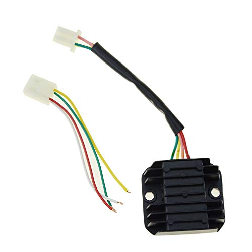 Hlyjoon Rectifier 4 Wires Voltage Regulator Universal Motorcycle Motor Bike 12V Voltage Regulator Rectifier 4 pin Fit for Scooter Moped ATVs Gokarts Ect