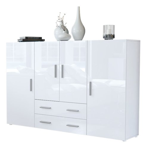 Vladon Highboard Sideboard Nora, Korpus in Weiß matt/Front in Weiß Hochglanz