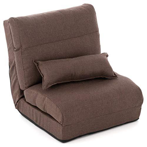 Schlafsessel 220x60x14 cm verstellbar Comfort Jugendsessel Gästebett klappbar Sitzsack Klappbett Sessel mit Kissen Bodensofa Lounger Einzelsofa Multifunktionsstuhl Farbe wählbar (Braun)