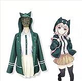 HCCTI&Hand-Made Uniforme Super DangRonda Chiaki Nanami Cosplay High School Chica Vestido Estudiantes Halloween Carnival Party rol Outfits, Verde, L(L, Green)