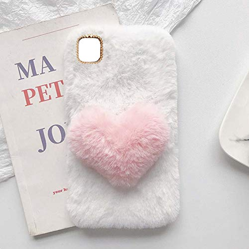 YHY Linda Funda Teléfono con Forma Corazón Felpa para Motorola Moto Edge S 5G Funda Teléfono Romántica Creativa Moda Blanca