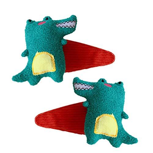 Beaupretty 2 Pcs Pince à Cheveux de Dinosaure Belle Animal Imprimé Motif Métal Snap Pinces à Cheveux Dessin Animé Conception Épingles à Cheveux pour Enfants Adolescents Vert
