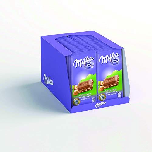 Milka - Mini Tablette au Chocolat au Lait et Noisettes Entières - Format Mini à Emporter - Présentoir de 32 mini tablettes (45 g)