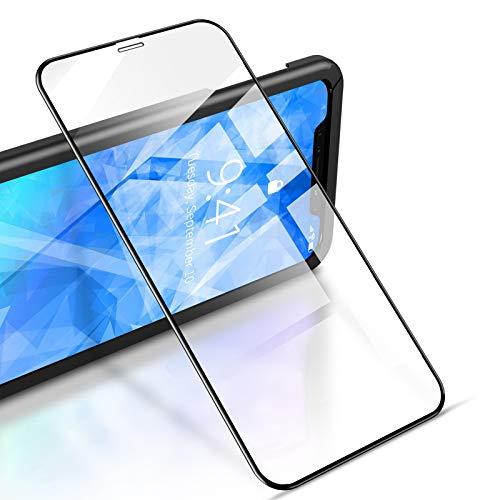 """RIWNNI [2 Stück Panzerglas für iPhone 11/XR (6.1\""""), 9H Härte Panzerglasfolie, HD Klar Displayschutz Glas Folie Full Screen Schutzfolie mit Positionierhilfe für iPhone 11/XR - Schwarz"""