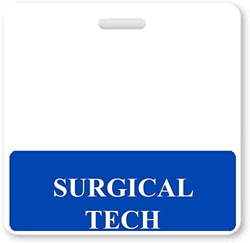Surgical Tech Badge Buddy - Heavy Duty Horizontal Badge Buddies for Surgical Technicians - Spill & Tear Proof Cards - 2 Sided USA Printed Quick Role Identifier ID Tag Backer by Specialist ID