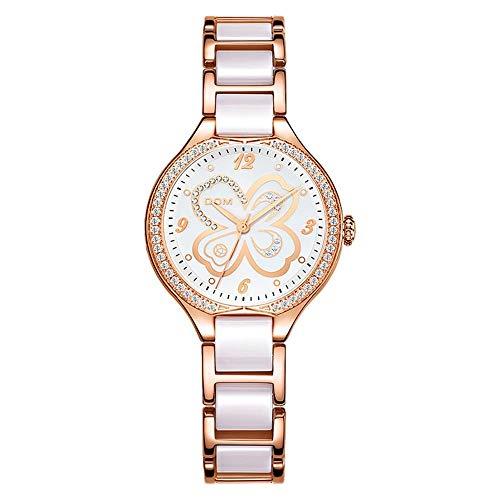 DSGTR Reloj Ultrafino a Prueba de Agua para Mujer, Reloj de Diamantes para Mujer de Moda, Correa de cerámica, Vestido Superior, Reloj de Cuarzo de Ginebra para Mujer, Acero Inoxidable Simple