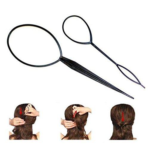 2x Demarkt Disk-Haar Hairstyle Help Hair Haar Tail Twister Kugelkopf Schwarz
