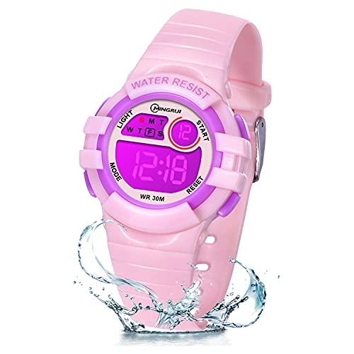 ZKIAH Reloj Digital Niño Niña Infantil, Reloj LED con Luz Nocturna de 7 Colores, Relojes para Niños con Cronómetro de Alarma, Reloj Deportivo multifunción Resistente al Agua (Rosado)
