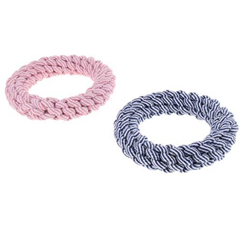 perfk 2X Hundespielzeug Kauseil Geflochtenes Seil Interaktives Spielzeug für große Hunde - Großer Ring