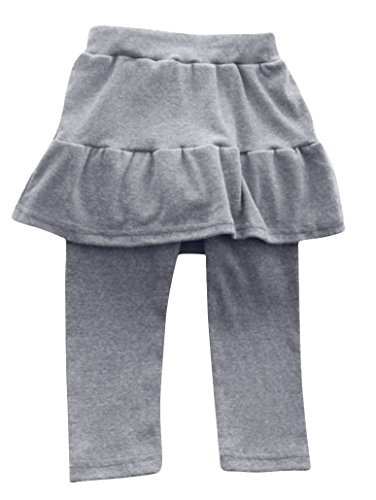 Plus Nao(プラスナオ) キッズスカート付きレギンス スカッツ シンプルコーデ 無地 フリルデザインボトムス 女の子 ジュニア 子供服 90 100 130 グレー
