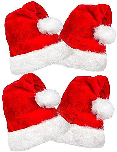4 Pack Plush Santa Hats, Christmas Santa Hats for Christmas Party, Adult Size Red