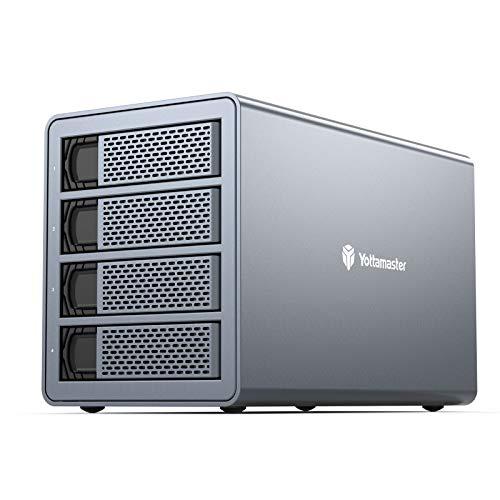 "Yottamaster 4 Bay RAID External Hard Drive Enclosure 2.5"" 3.5"" USB3.0 to SATA HDD SSD Enclosure,Support 64TB & RAID 0/1/5/10/JBOD RAID Mode Hard Drive RAID Storage for Video Editing Backup[FS4RU3]"