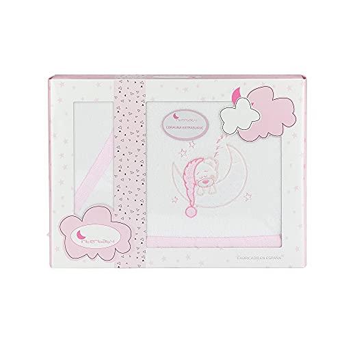 Sábanas de Coralina para minicuna Bear Sleeping, en blanco y rosa